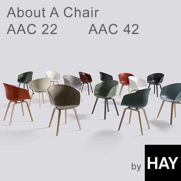 ABOUT En CHAIR - ref. AAC22 og AAC42 - polypropylen shell, valgfri fast pude, struktur i egetræ, to mulige højder, HEE WELLING og HAY