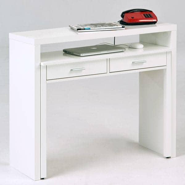 console bureau laque blanc