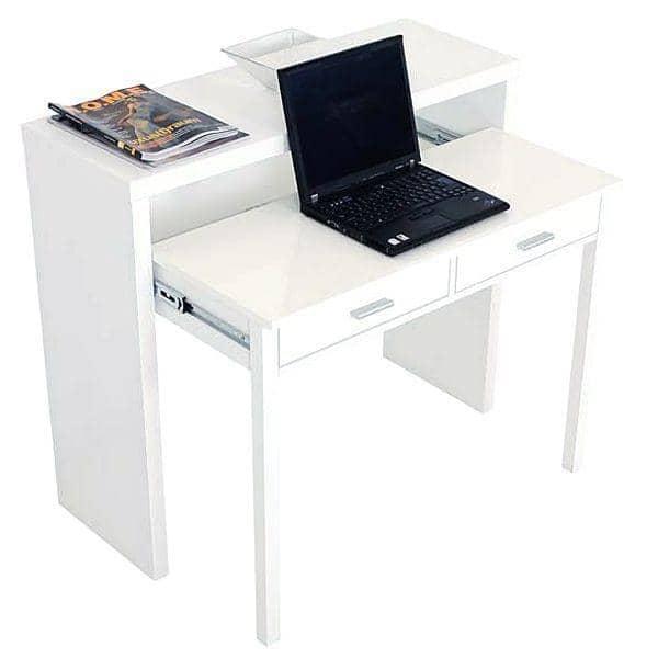 La console bureau munie de deux tiroirs laqu e blanc ou finition ch ne desig - Bureau console blanc ...