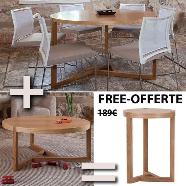 pack table ronde table basse et d 39 appoint collection scandiwood en ch ne massif et placage. Black Bedroom Furniture Sets. Home Design Ideas