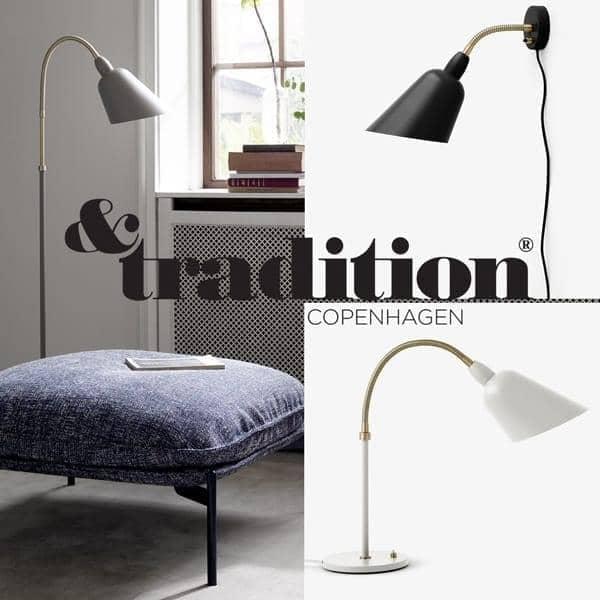 BELLEVUE coleção (lâmpada de parede, lâmpada de mesa and luminária de chão) criado por Arne Jacobsen em 1929. Um design intemporal. AND TRADITION