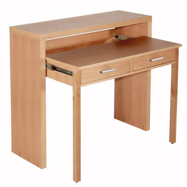 CONSOLE DESK - pure white painted wood or oak, by Leonhard Pfeiffer - convenient