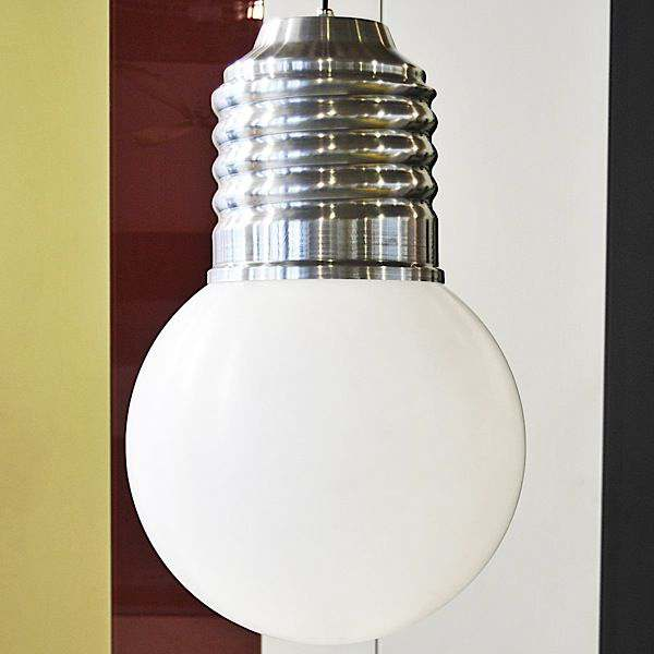 BASIC, a nice ceiling lamp, polished aluminum sleeve, polyethylene globe