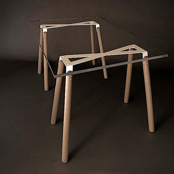 XTYPE trestles made in solid oiled beechwood, white powder coating. Designed by Arik Levy