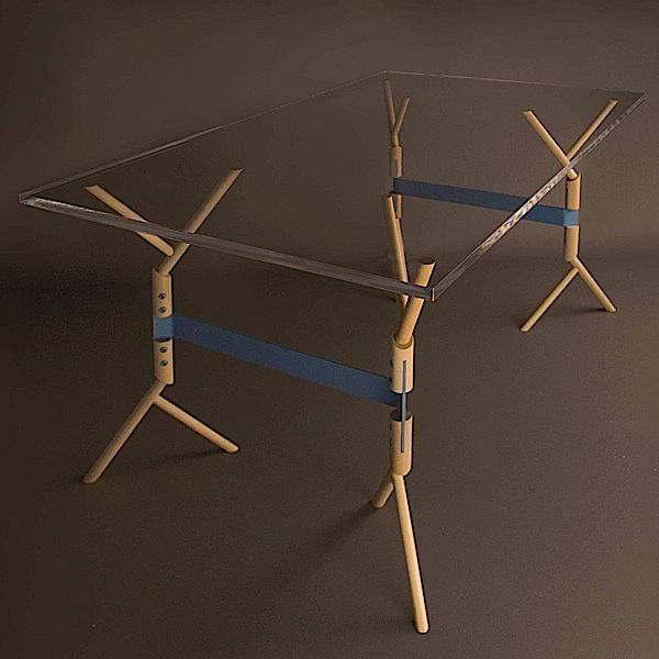 BRANCHE trestles made in solid oiled beechwood, blue powder coating. Designed by AT ONCE