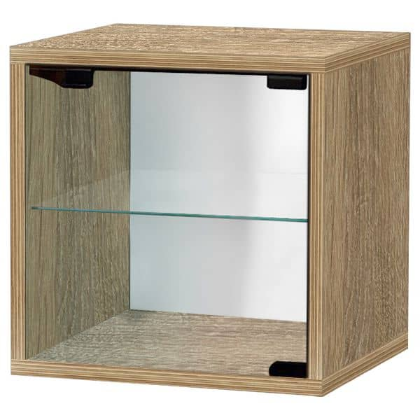 QUATTRO CUBE shelves, lacquered MDF or wood - through safety glass shelf included, with or without door