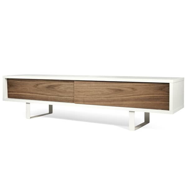 SLIDE, TV stand or low sideboard, a rounded metal foot, sliding doors, for a modern space - designed by NUNO HENRIQUES