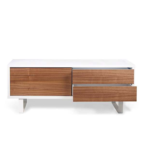 NILO, TV Table or low sideboard : Metal legs, sliding door, drawers. Nothing is missing