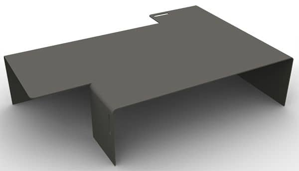 The AXXEL Coffee table, made in 5 mm Steel, 120 x 80 cm, adapted for indoor or outdoor use, a very successful asymmetry