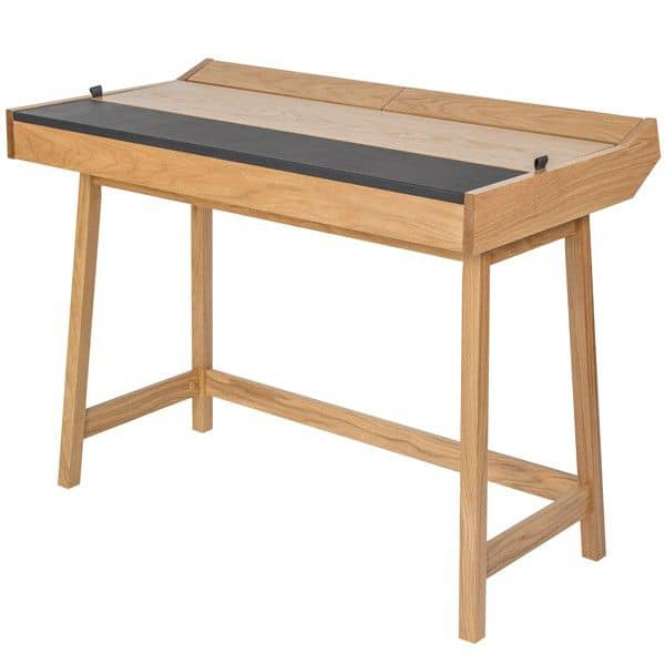 RETRO, a functional desk, offering a very large storage area with its three flaps, oak and leather,