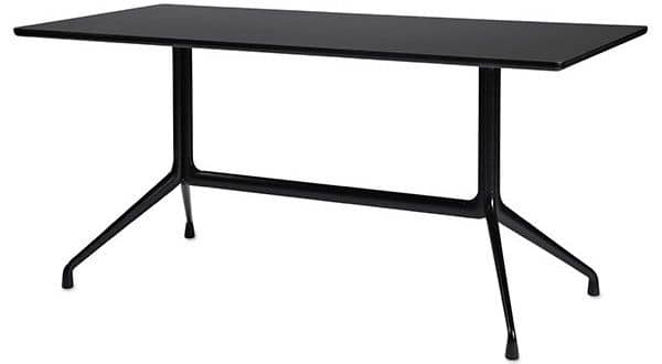 AAT10 rectangular dining table, plywood, aluminum legs