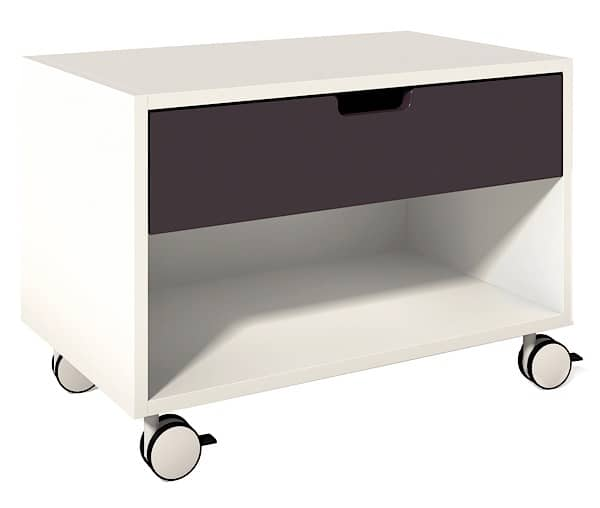 Mobile Bedside table on locking casters, auto silent closing drawer