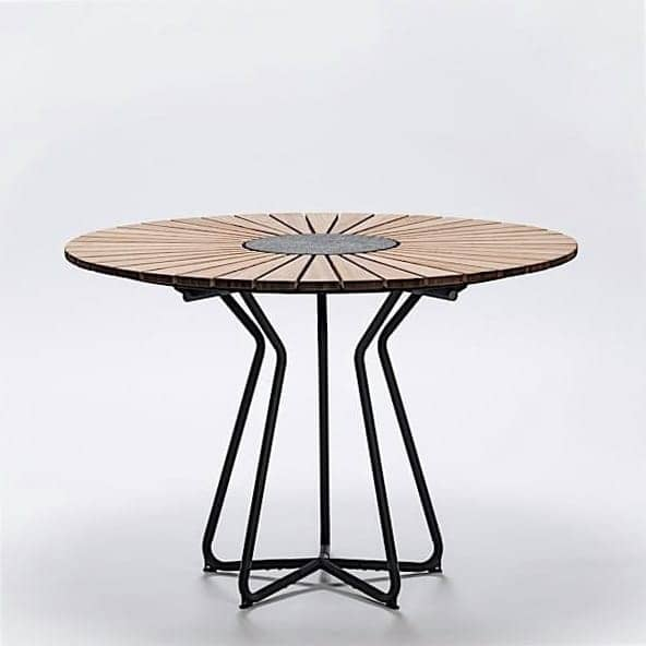 Table ronde CIRCLE, bambou et granit, acier, outdoor