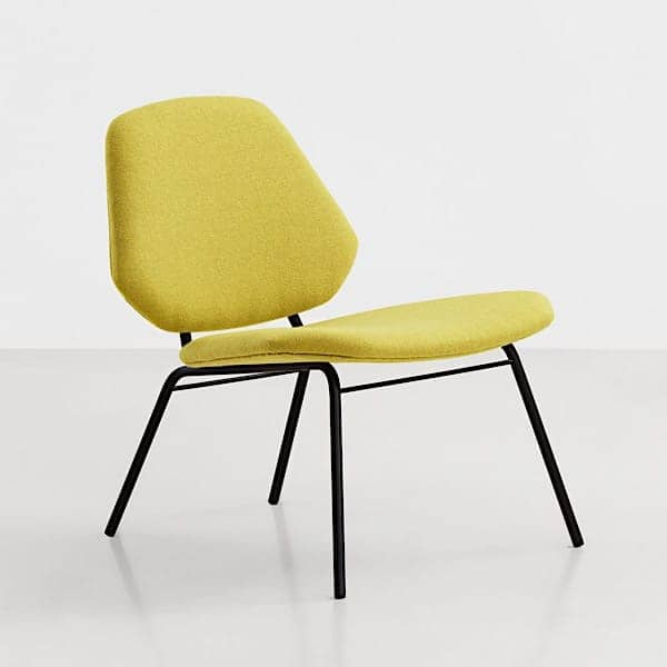 The lounge chair Lean: kvadrat fabric and steel structure