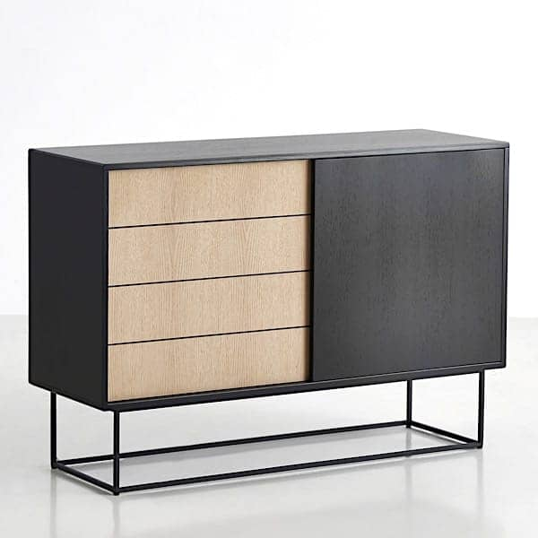 VIRKA sideboard , wood and metal, sliding doors