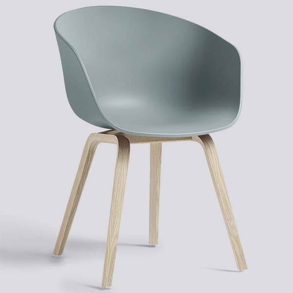 ABOUT A CHAIR - ref. AAC22 and AAC42 - Polypropylene shell, optional fixed cushion, structure in oak wood, two possible heights