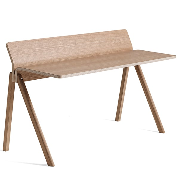 The COPENHAGUE moulded plywood desk CPH190, made in solid wood and plywood, by ronan and erwan bouroullec