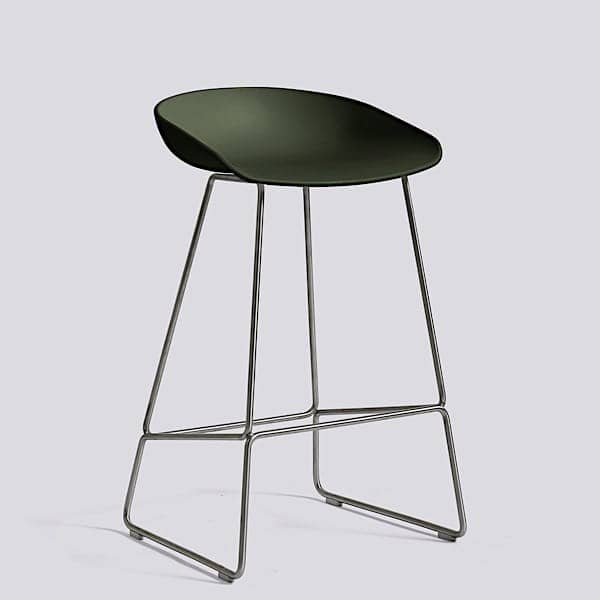 ABOUT A STOOL, stool da bar di HAY - rif. AAS38 e AAS38 DUO - Base in acciaio, scocca in polipropilene