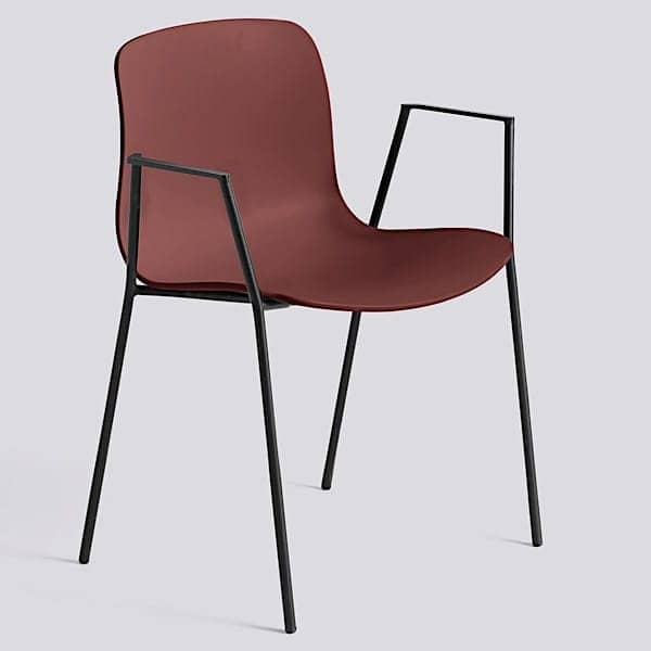 ABOUT A CHAIR - ref. AAC18 and AAC18 DUO - Seat in polypropylene, with armrests, stackable, 16 mm steel frame.