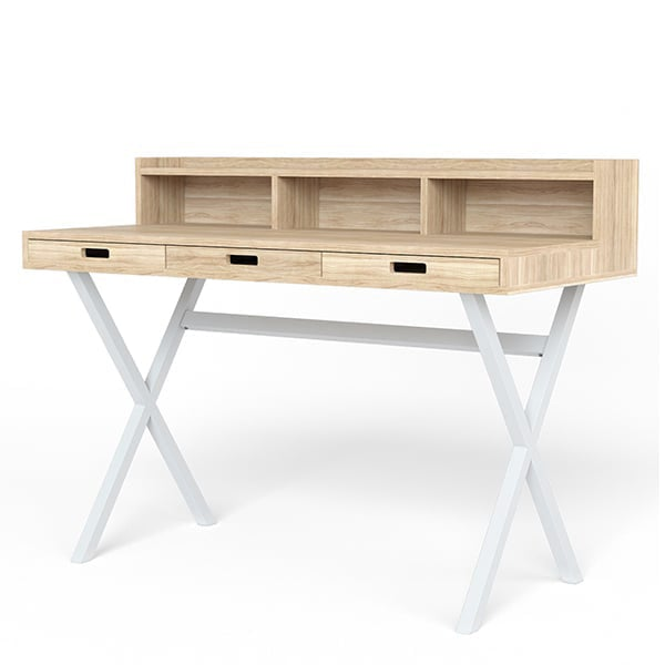 Secretary Hyppolite by Hartô, veneer in oak or walnut and metal