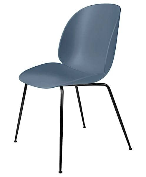 BEETLE chair, polypropylene shell and metal base. GUBI