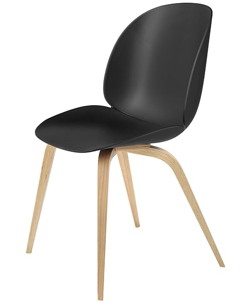 BEETLE chair, polypropylene shell and wood base. GUBI