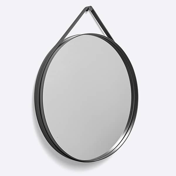STRAP: a nice round mirror, in powder coated steel, with its silicone strap, HAY.
