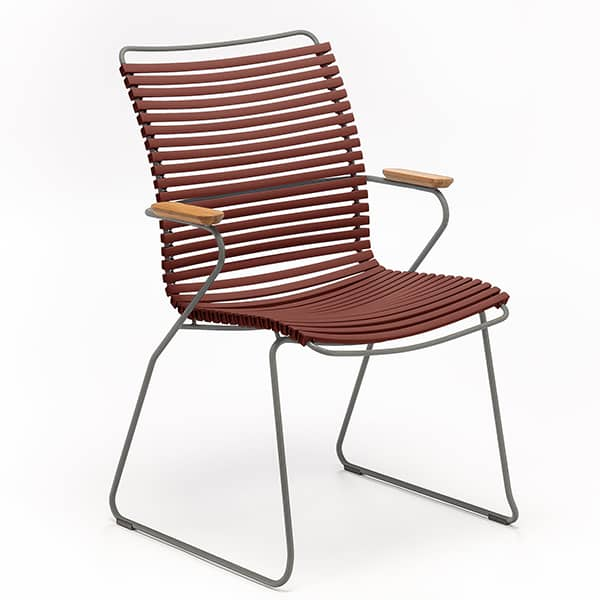 Dining chair, CLICK SYSTEM, tall backrest, resin and steel, outdoor