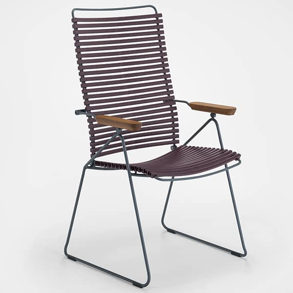 Dining chair, CLICK SYSTEM, tall backrest, adjustable, 7 positions, resin and steel, outdoor