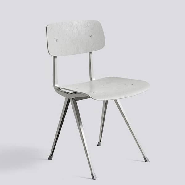 The RESULT chair by HAY - seat in fabric or leather in option - cut steel, and moulded plywood seat and back