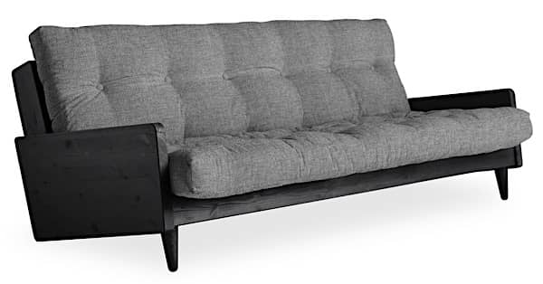 POP, a very cosy scandinavian convertible sofa, with a retro touch. Wood and futon.