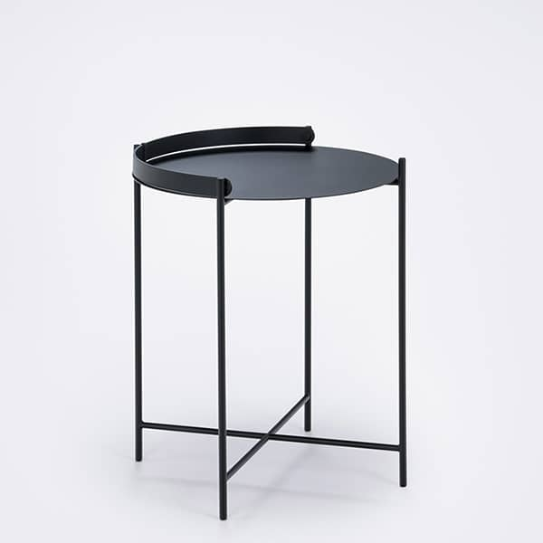 EDGE side table with integrated handle, in epoxy lacquered steel, by HOUE