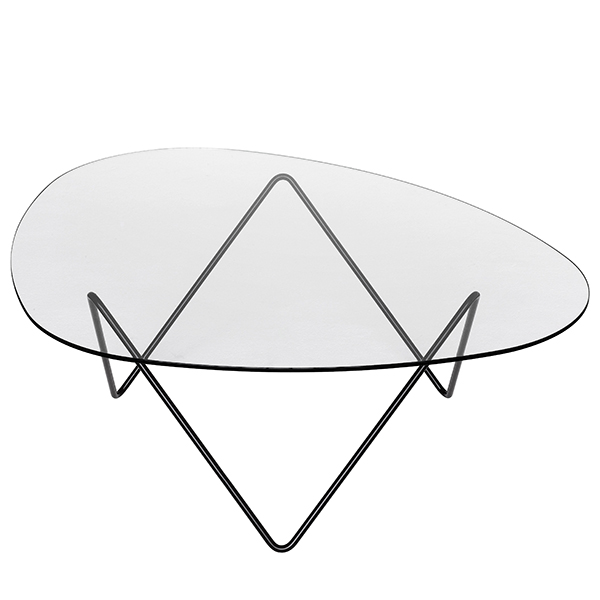 PEDRERA coffee table, slender base and glass table top. GUBI