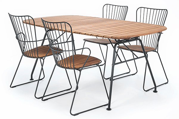 BEAM oval folding table, in bamboo and powder coated steel, outdoor by HOUE