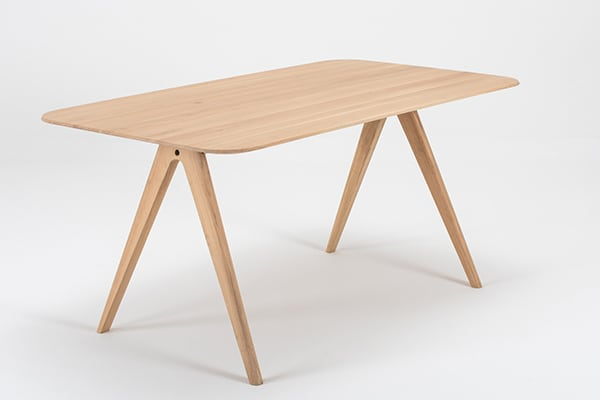AVA, solid oak table, refined and removable, by GAZZDA