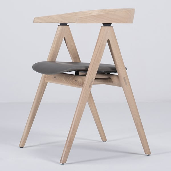 AVA, design and padded chair in solid oak, by GAZZDA