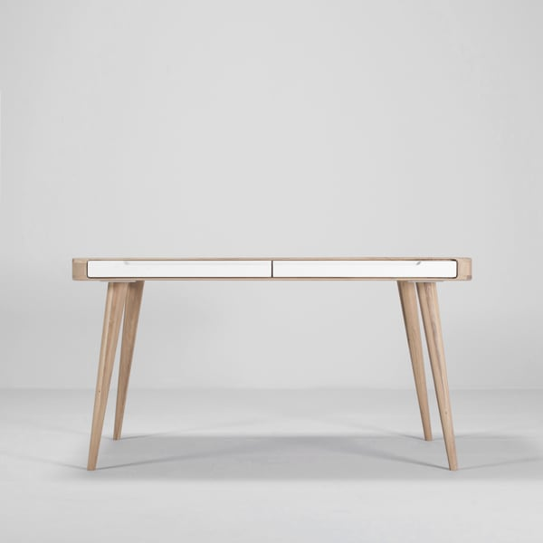 ENA, solid oak table with drawers, by GAZZDA